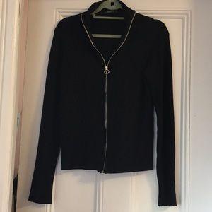 Zara Black Sweater with cute gold zipper